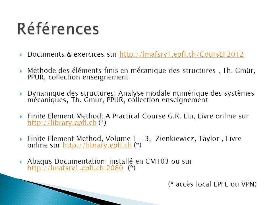 Documents & exercices sur http://lmafsrv1.epfl.ch/CoursEF2012http://lmafsrv1.epfl.ch/CoursEF2012 Méthode des éléments finis en mécanique des structure