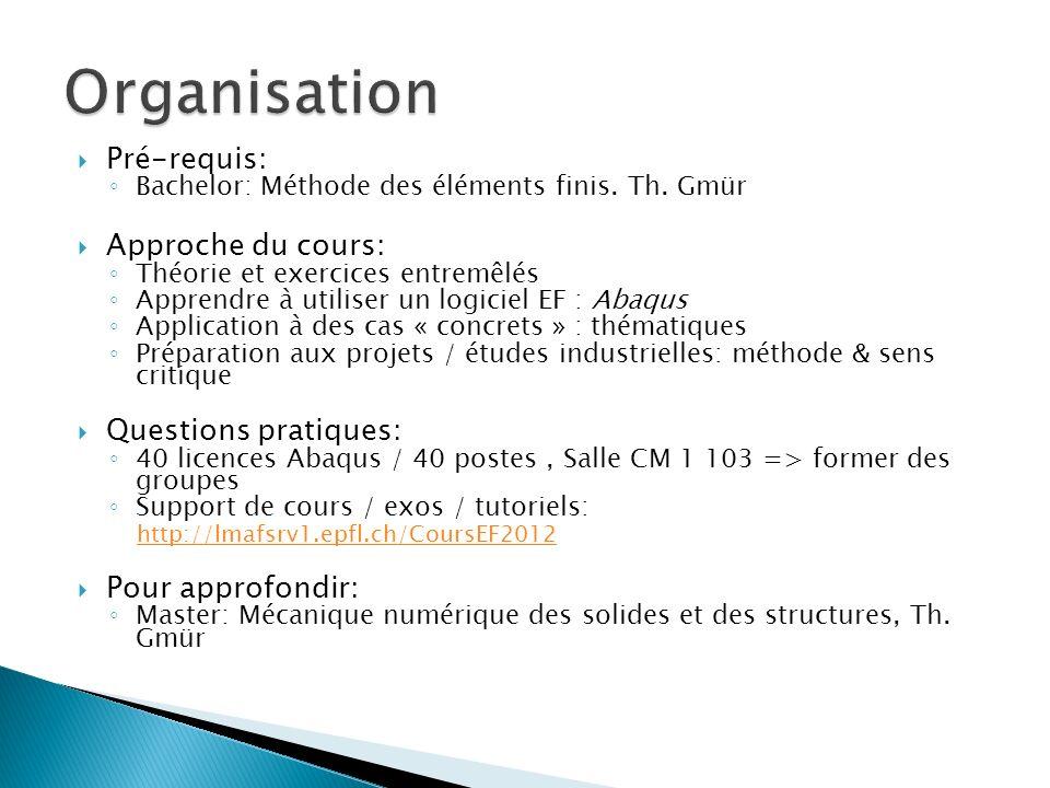 Pré-requis: Bachelor: Méthode des éléments finis. Th. Gmür Approche du cours: Théorie et exercices entremêlés Apprendre à utiliser un logiciel EF : Ab