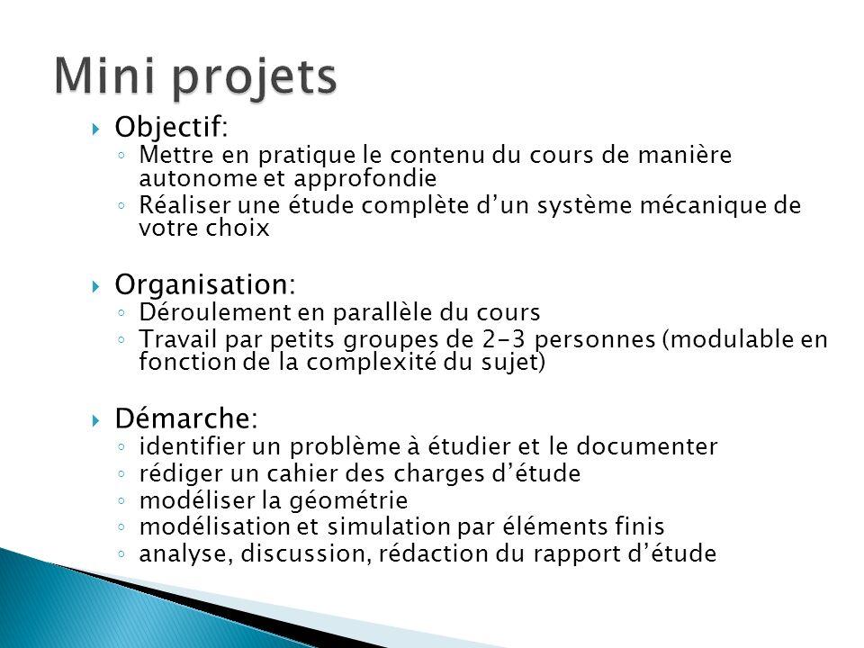 Objectif: Mettre en pratique le contenu du cours de manière autonome et approfondie Réaliser une étude complète dun système mécanique de votre choix O