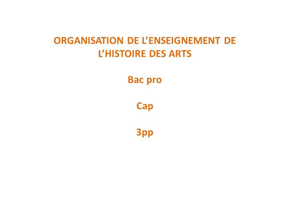 ORGANISATION DE LENSEIGNEMENT DE LHISTOIRE DES ARTS Bac pro Cap 3pp