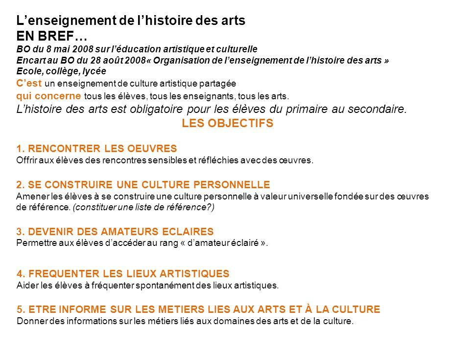 Lenseignement de lhistoire des arts EN BREF… BO du 8 mai 2008 sur léducation artistique et culturelle Encart au BO du 28 août 2008« Organisation de le