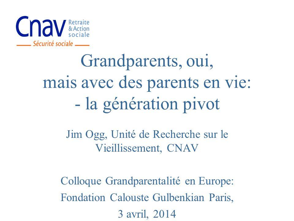Grandparents, oui, mais avec des parents en vie: - la génération pivot Jim Ogg, Unité de Recherche sur le Vieillissement, CNAV Colloque Grandparentali