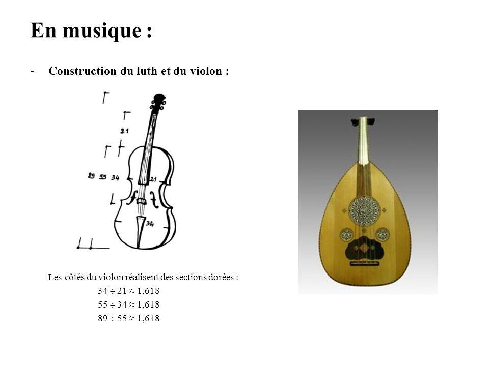 En musique : -Construction du luth et du violon : Les côtés du violon réalisent des sections dorées : 34 21 1,618 55 34 1,618 89 55 1,618