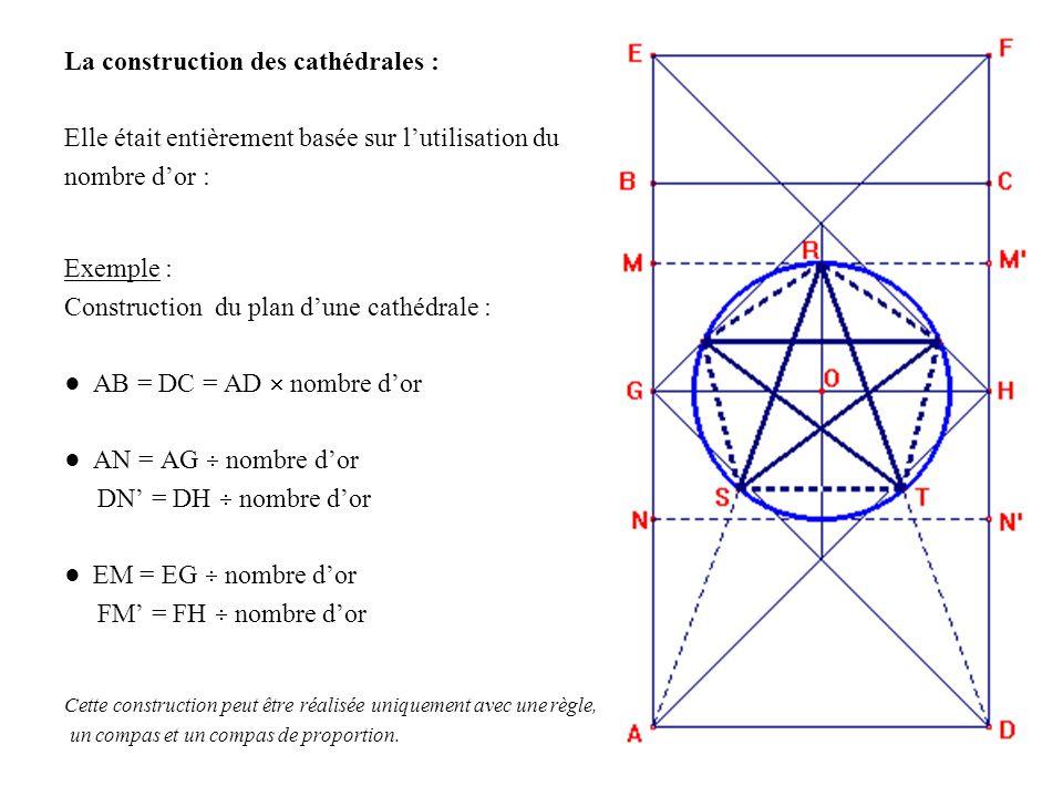 La construction des cathédrales : Elle était entièrement basée sur lutilisation du nombre dor : Exemple : Construction du plan dune cathédrale : AB =