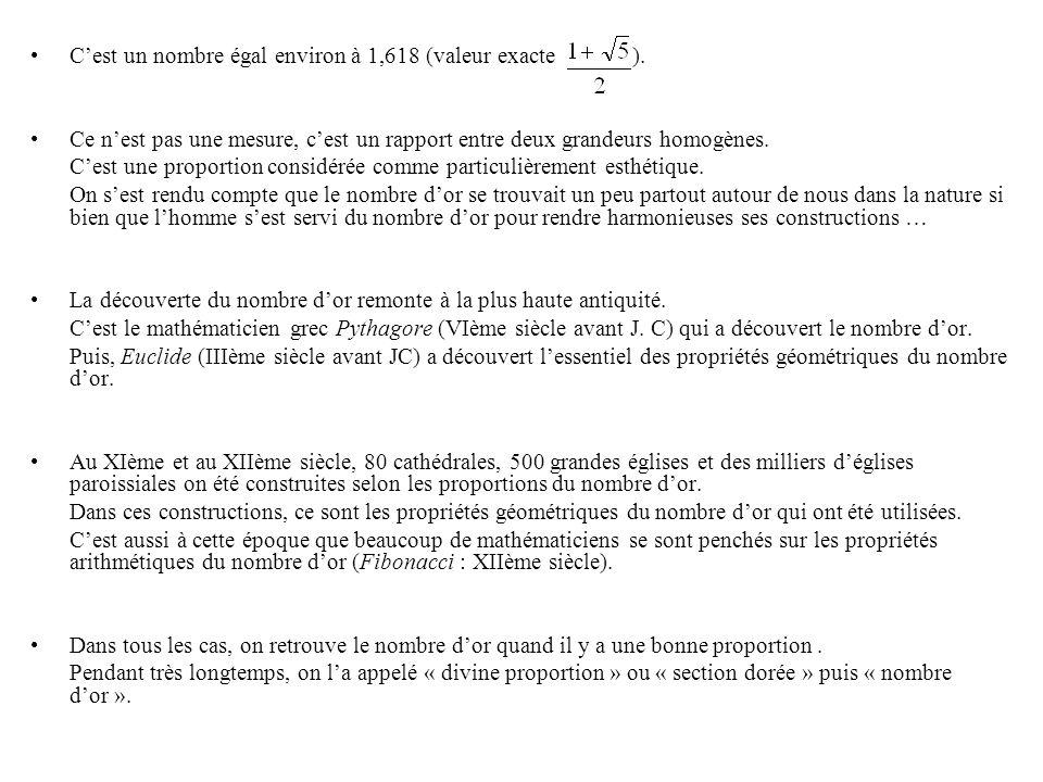 Constructions mathématiques à laide du nombre dor Constructions mathématiques à laide du nombre dor : (pouvant être faites en 6 e ou 5è) Le pentagone régulier : DA = DB = AB nombre dor.