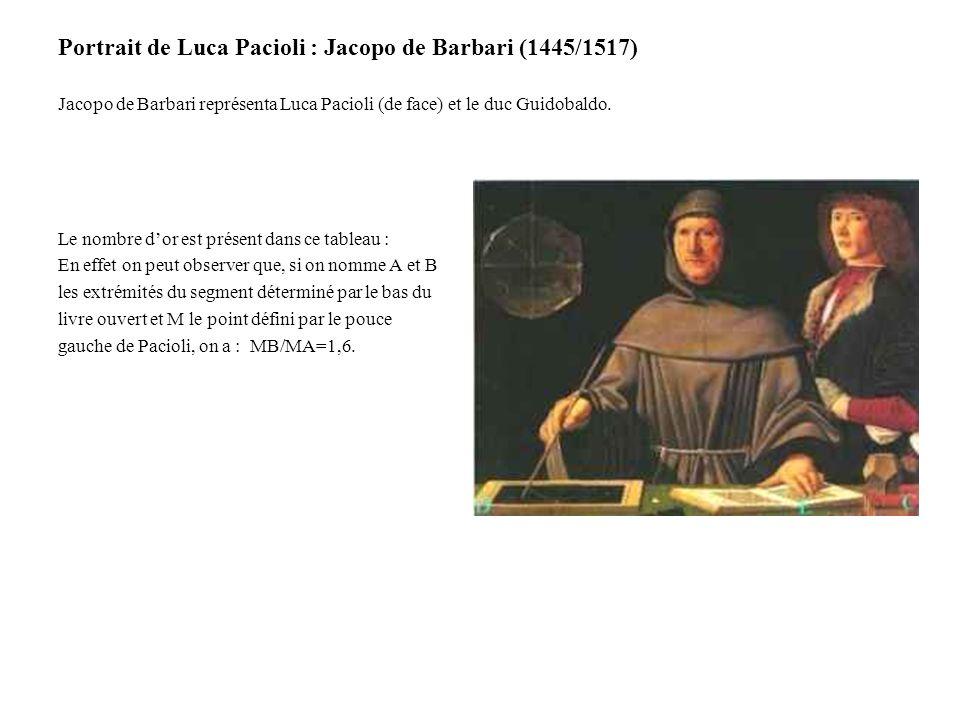 Portrait de Luca Pacioli : Jacopo de Barbari (1445/1517) Jacopo de Barbari représenta Luca Pacioli (de face) et le duc Guidobaldo. Le nombre dor est p