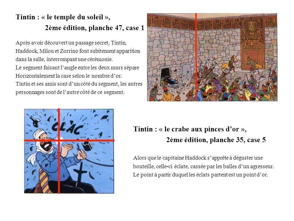 Tintin : « le temple du soleil », 2ème édition, planche 47, case 1 Après avoir découvert un passage secret, Tintin, Haddock, Milou et Zorrino font sub