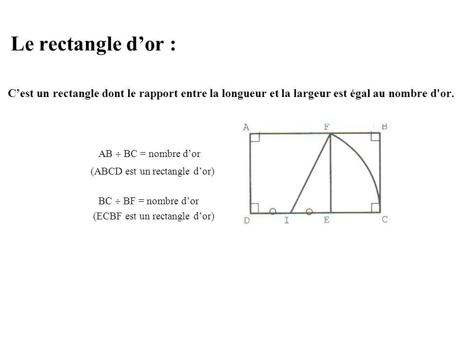 La spirale dor : En poursuivant la construction du rectangle dor, on peut construire une spirale dor : JHFK, EFHI, AGFE … sont des rectangles dor construits successivement.