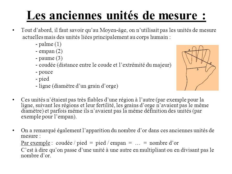 Les anciennes unités de mesure : Tout dabord, il faut savoir quau Moyen-âge, on nutilisait pas les unités de mesure actuelles mais des unités liées pr