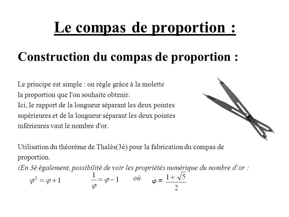 Utilisation du compas de proportion : Il permet de multiplier ou de diviser des longueurs par le nombre dor.