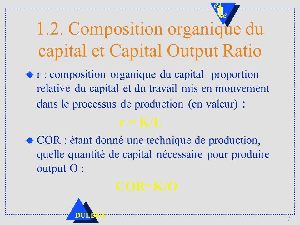 7 DULBEA 1.2. Composition organique du capital et Capital Output Ratio u r : composition organique du capital proportion relative du capital et du tra