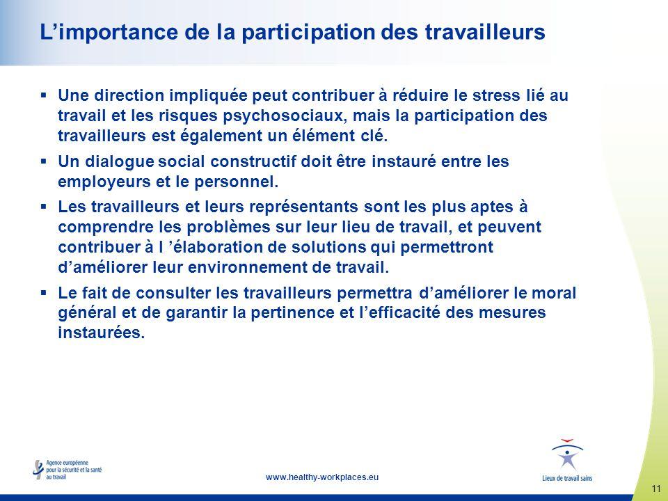 11 www.healthy-workplaces.eu Limportance de la participation des travailleurs Une direction impliquée peut contribuer à réduire le stress lié au trava