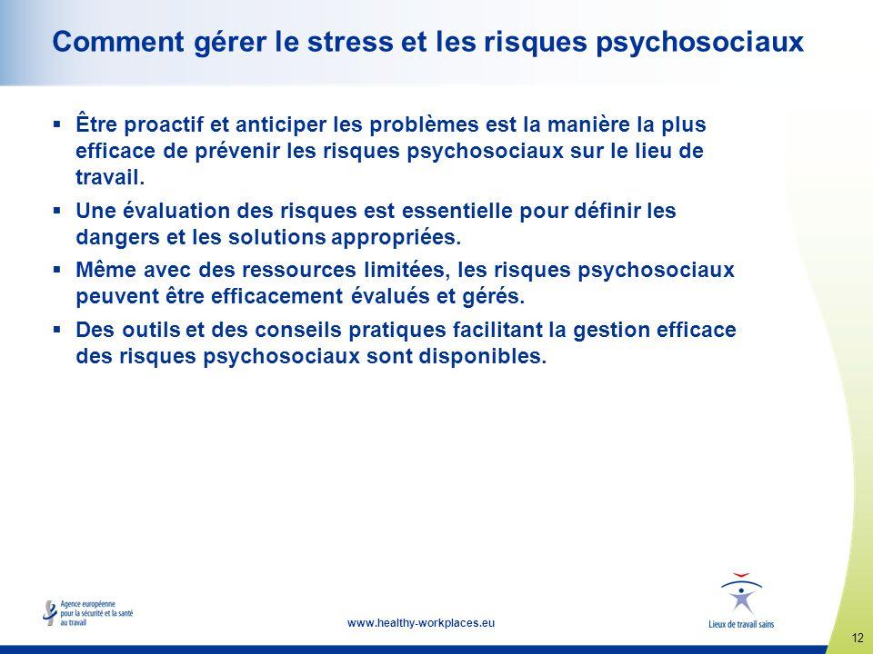 12 www.healthy-workplaces.eu Comment gérer le stress et les risques psychosociaux Être proactif et anticiper les problèmes est la manière la plus effi