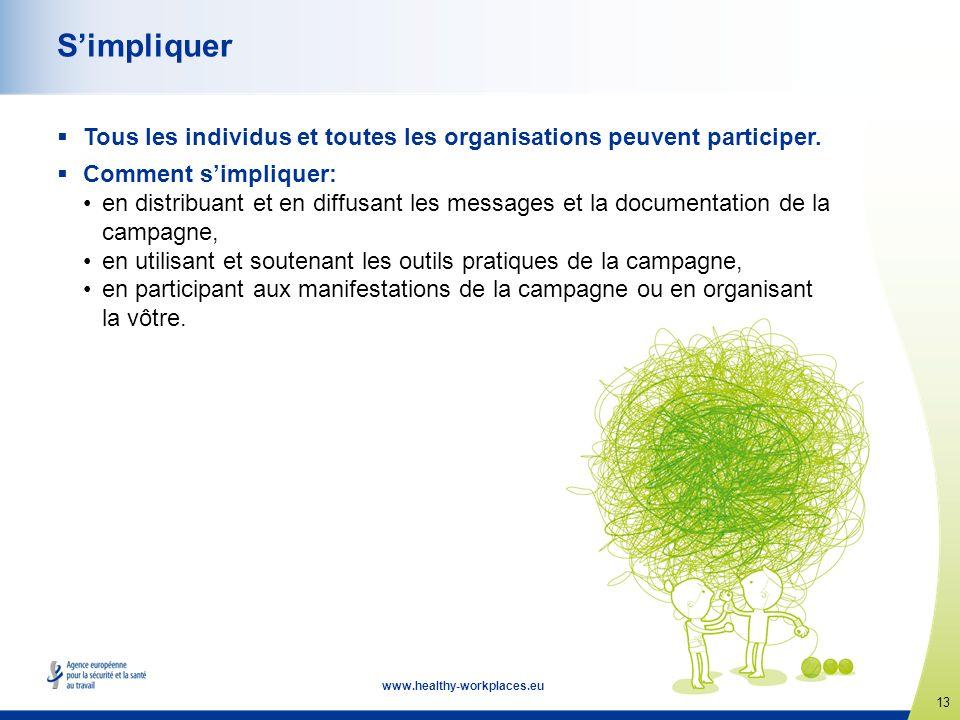 13 www.healthy-workplaces.eu Simpliquer Tous les individus et toutes les organisations peuvent participer. Comment simpliquer: en distribuant et en di