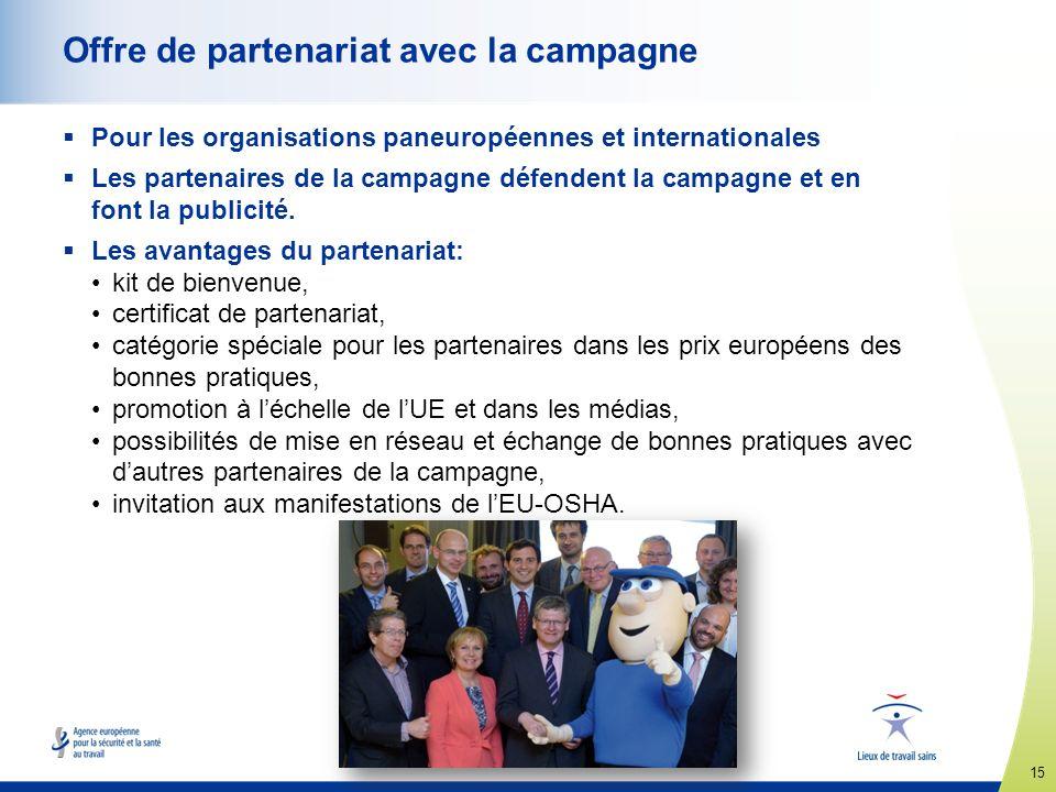 15 www.healthy-workplaces.eu Offre de partenariat avec la campagne Pour les organisations paneuropéennes et internationales Les partenaires de la camp