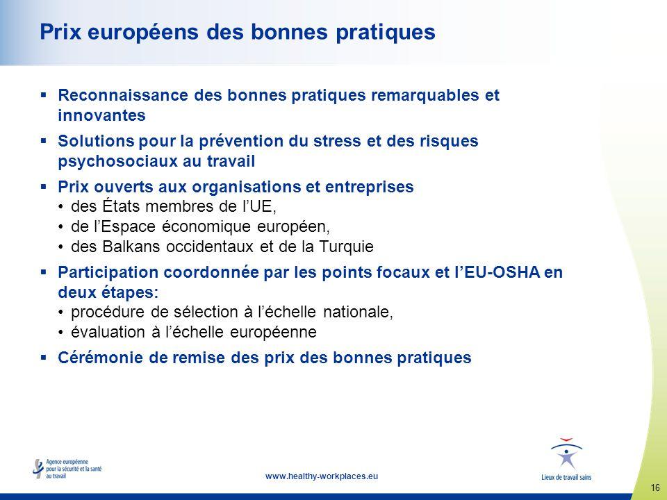 16 www.healthy-workplaces.eu Prix européens des bonnes pratiques Reconnaissance des bonnes pratiques remarquables et innovantes Solutions pour la prév
