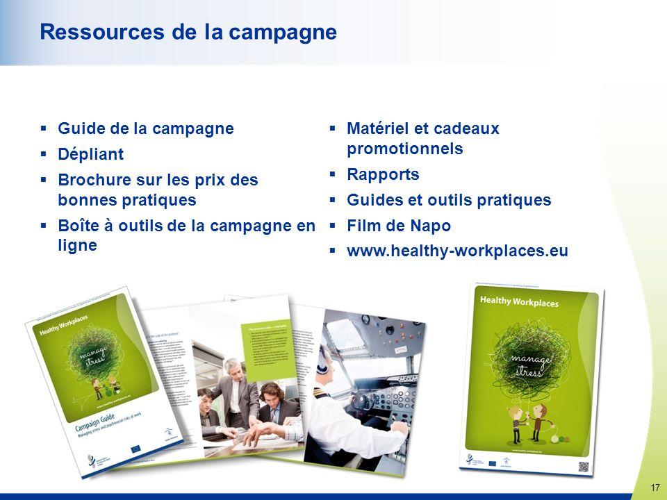 17 www.healthy-workplaces.eu Ressources de la campagne Guide de la campagne Dépliant Brochure sur les prix des bonnes pratiques Boîte à outils de la c