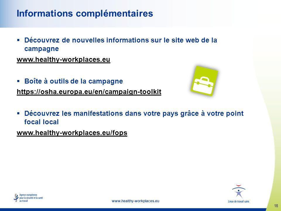 18 www.healthy-workplaces.eu Informations complémentaires Découvrez de nouvelles informations sur le site web de la campagne www.healthy-workplaces.eu