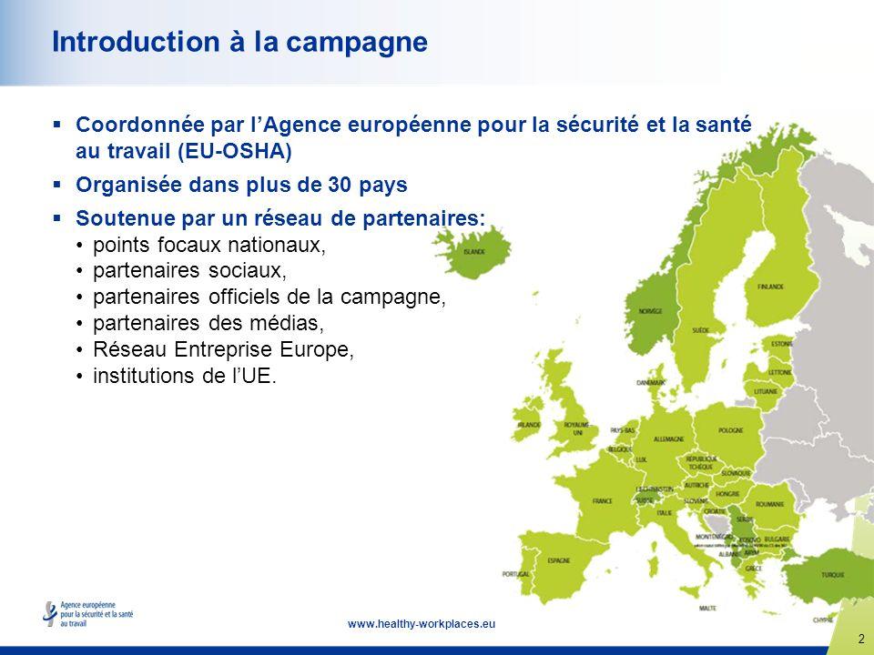2 www.healthy-workplaces.eu Introduction à la campagne Coordonnée par lAgence européenne pour la sécurité et la santé au travail (EU-OSHA) Organisée d
