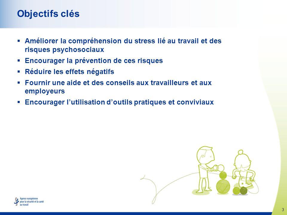 3 www.healthy-workplaces.eu Objectifs clés Améliorer la compréhension du stress lié au travail et des risques psychosociaux Encourager la prévention d