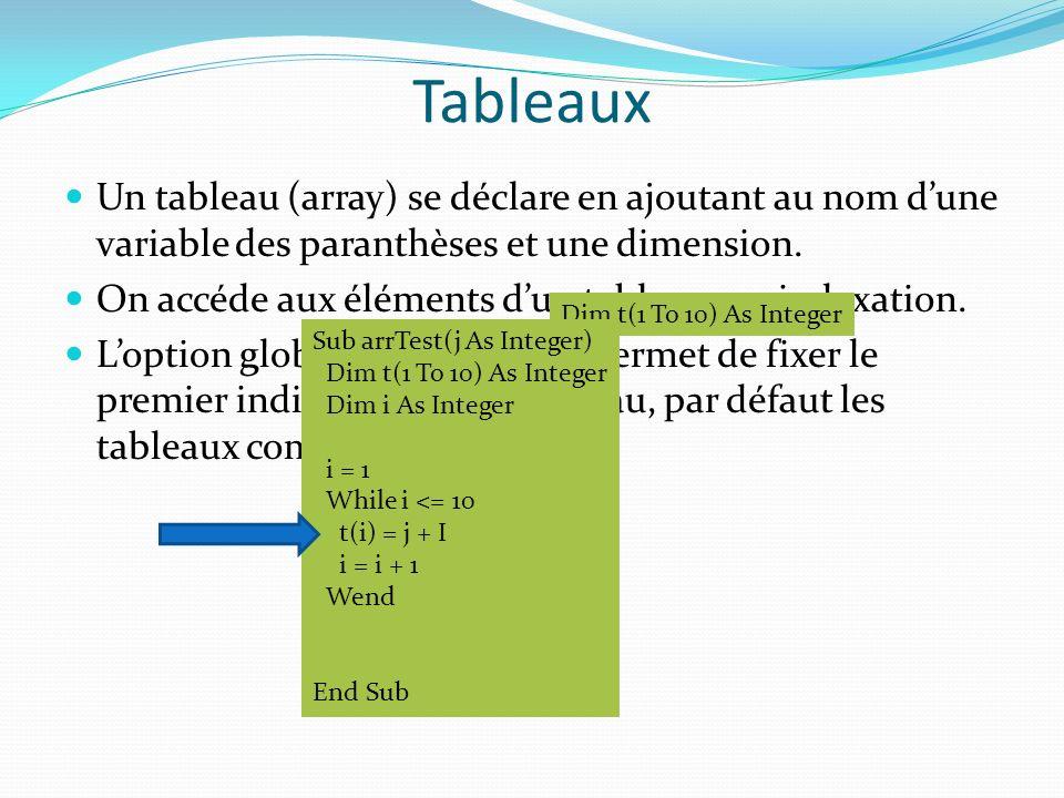 Tableaux Un tableau (array) se déclare en ajoutant au nom dune variable des paranthèses et une dimension. On accéde aux éléments dun tableau par index