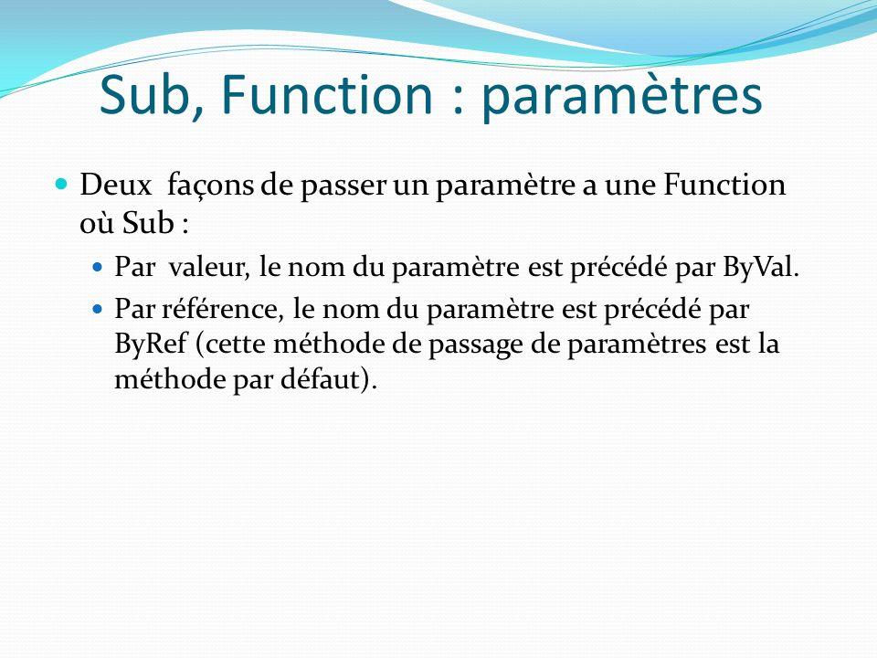 Sub, Function : paramètres Deux façons de passer un paramètre a une Function où Sub : Par valeur, le nom du paramètre est précédé par ByVal. Par référ