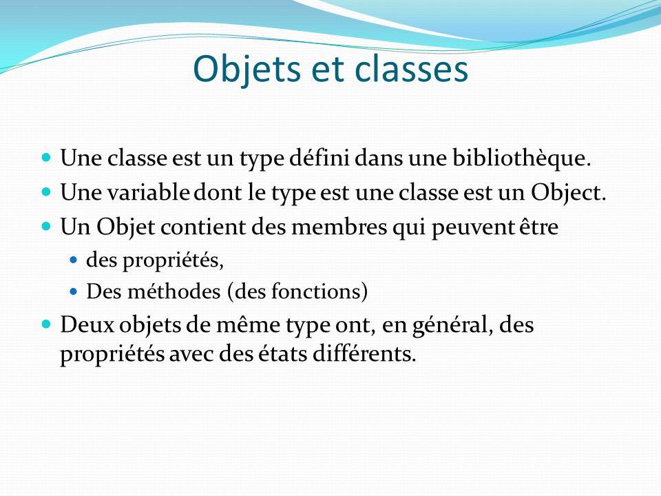 Objets et classes Une classe est un type défini dans une bibliothèque. Une variable dont le type est une classe est un Object. Un Objet contient des m
