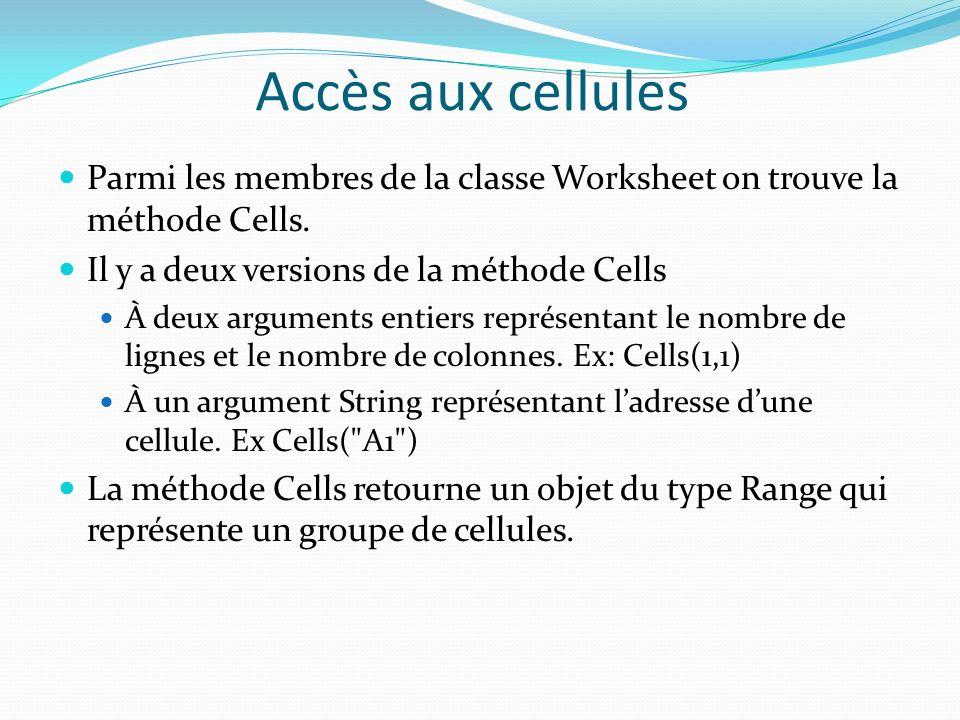 Accès aux cellules Parmi les membres de la classe Worksheet on trouve la méthode Cells. Il y a deux versions de la méthode Cells À deux arguments enti