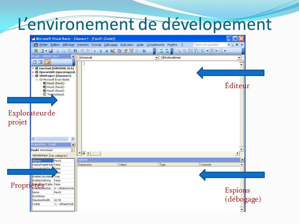 Ajouter une fonction à Excel Click droit sur Microsoft Excel objects : Séléctioner Module