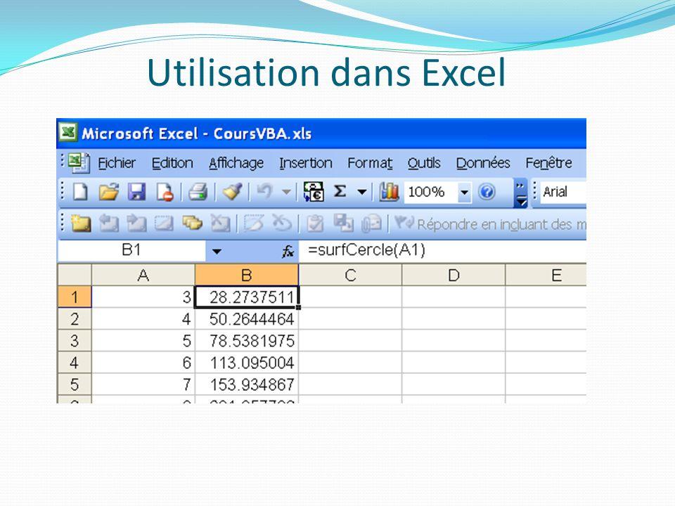 Utilisation dans Excel