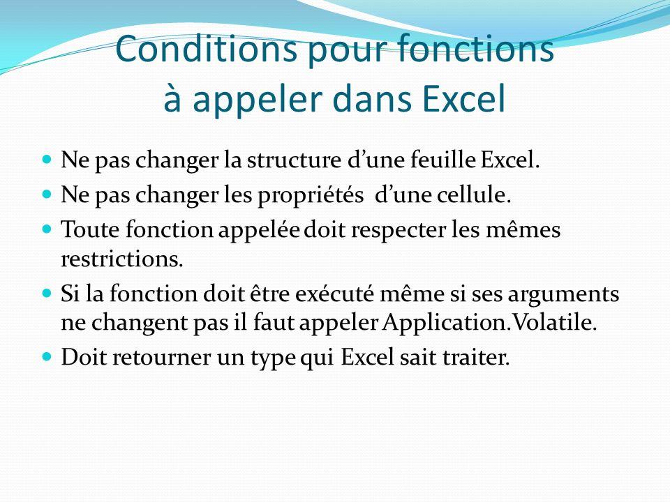 Exemple Option Explicit Sub displaySquare() Dim i As Integer For i = 1 To 100 result.Cells(i, 1).Value = i * i result.Cells(i, 1).Interior.ColorIndex = i Mod 32 Next i End Sub Result est un Objet de type Excel.Worksheet Excel -> bibliothèque Worksheet -> class Cells est une méthode de la class Worksheet à 2 arguments (il a une Autre méthode de même nom à 1 argument) qui retourne un objet de type Excel.Range Value est une propriété de la class Range