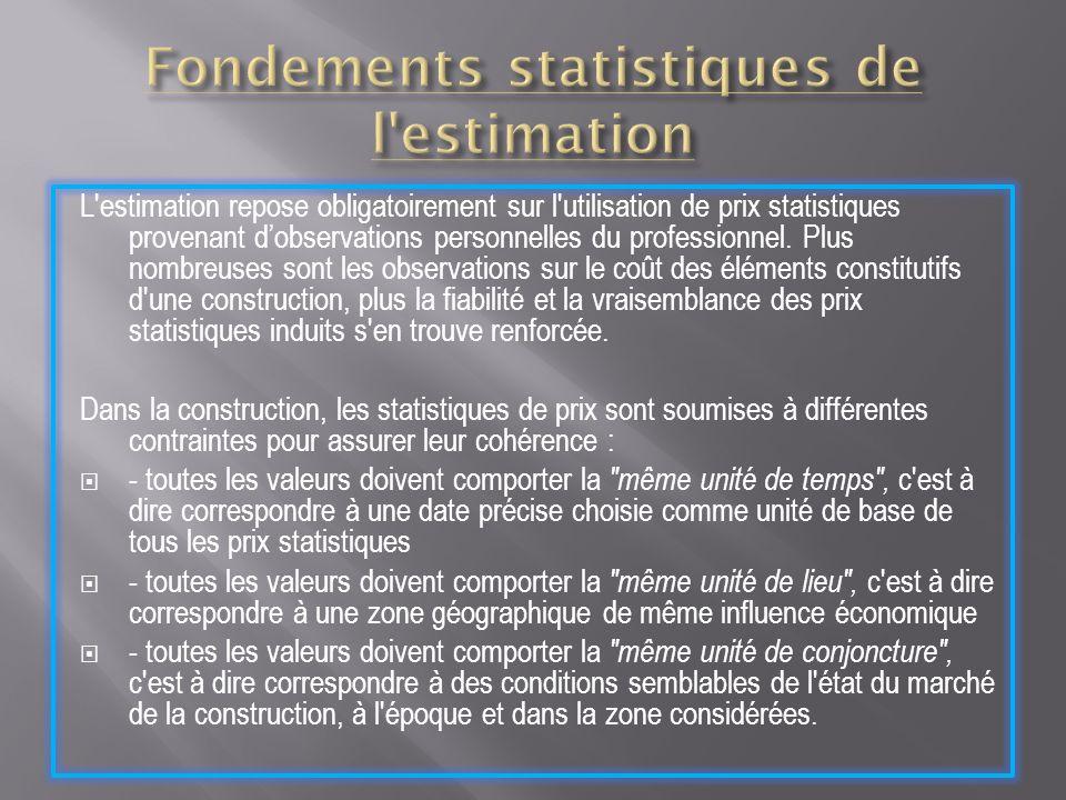 L'estimation repose obligatoirement sur l'utilisation de prix statistiques provenant dobservations personnelles du professionnel. Plus nombreuses sont
