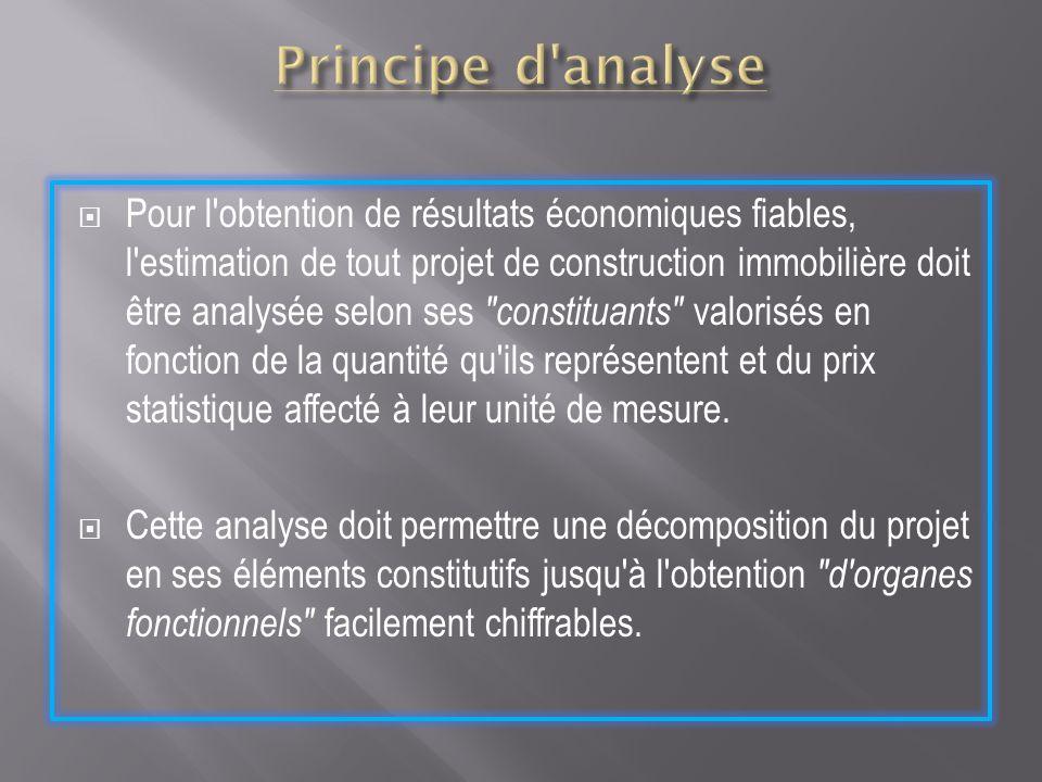 Pour l'obtention de résultats économiques fiables, l'estimation de tout projet de construction immobilière doit être analysée selon ses