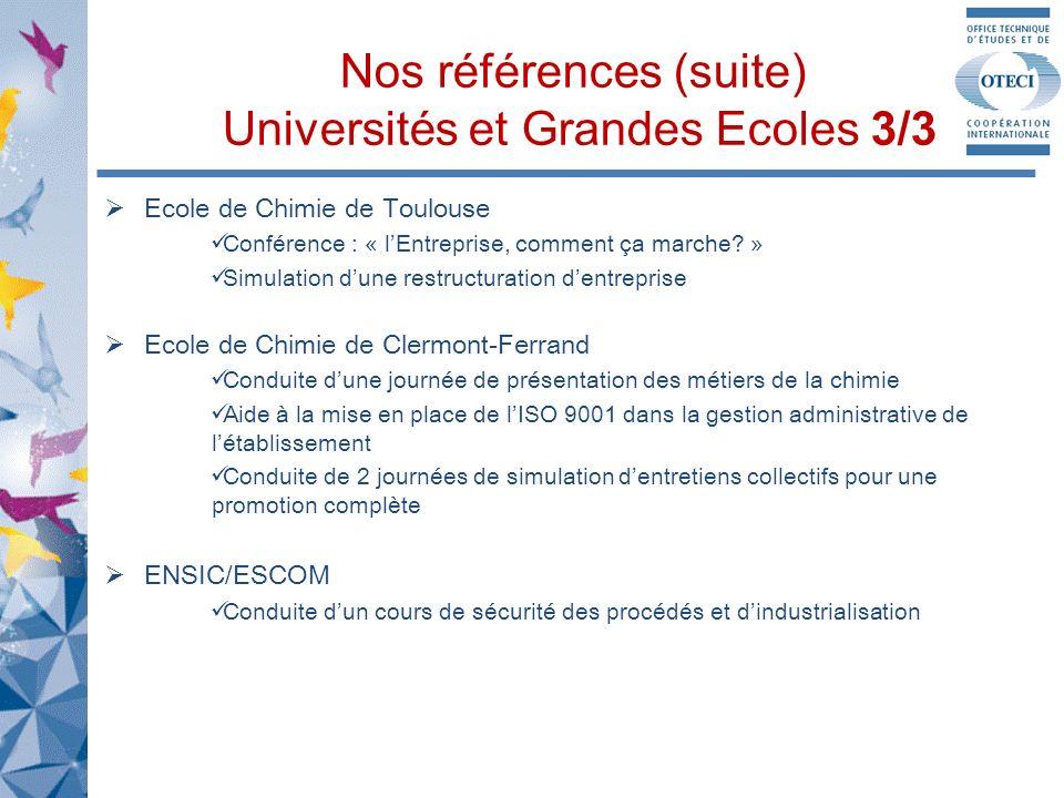 Nos références (suite) Universités et Grandes Ecoles 3/3 Ecole de Chimie de Toulouse Conférence : « lEntreprise, comment ça marche.