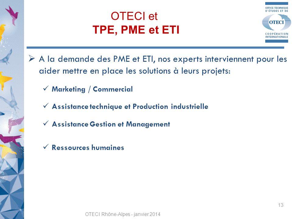 OTECI et TPE, PME et ETI OTECI Rhône-Alpes - janvier 2014 13 A la demande des PME et ETI, nos experts interviennent pour les aider mettre en place les solutions à leurs projets: Marketing / Commercial Assistance technique et Production industrielle Assistance Gestion et Management Ressources humaines