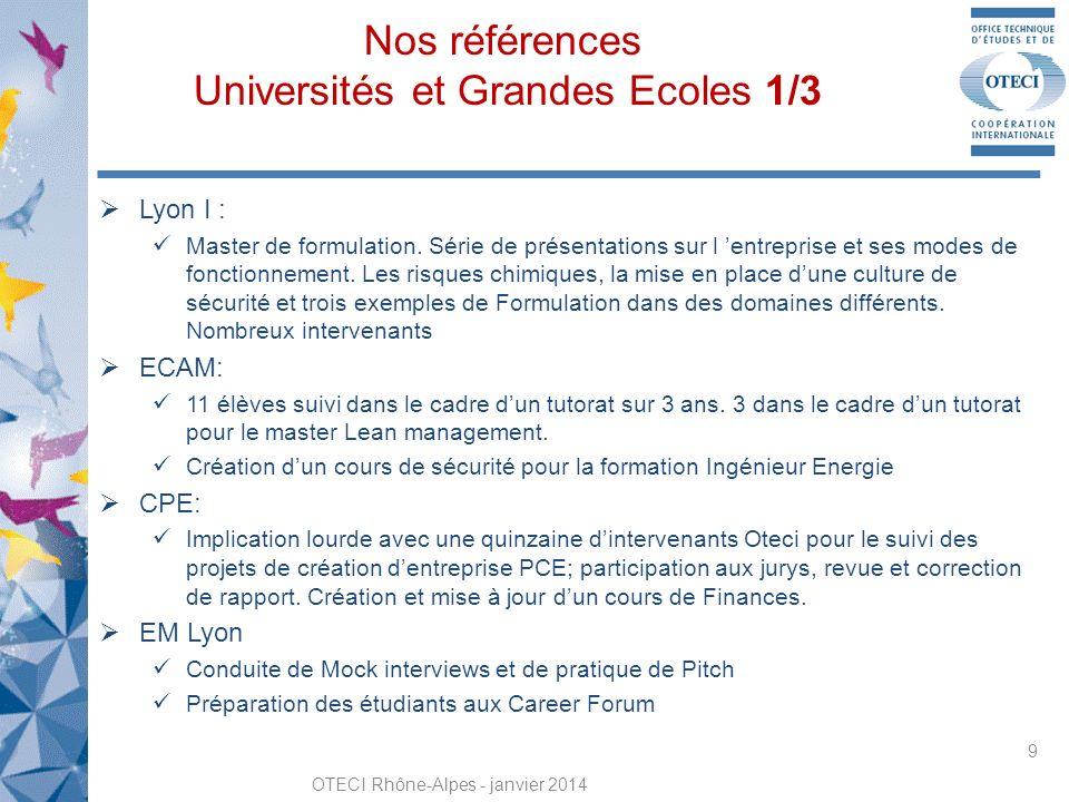 Nos références Universités et Grandes Ecoles 1/3 OTECI Rhône-Alpes - janvier 2014 9 Lyon I : Master de formulation.