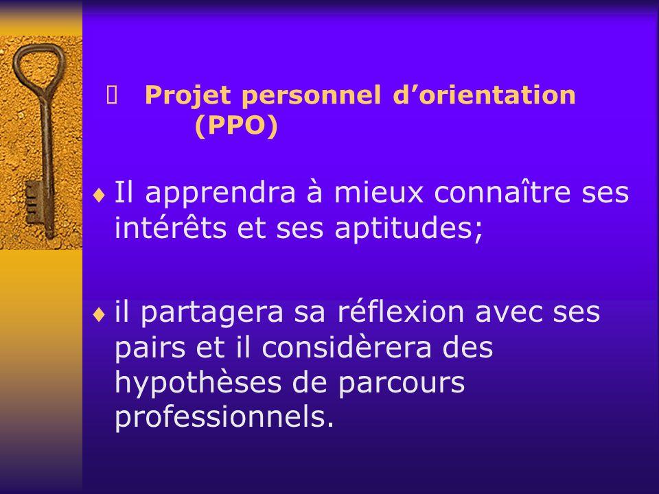 Projet personnel dorientation (PPO) Il apprendra à mieux connaître ses intérêts et ses aptitudes; il partagera sa réflexion avec ses pairs et il consi
