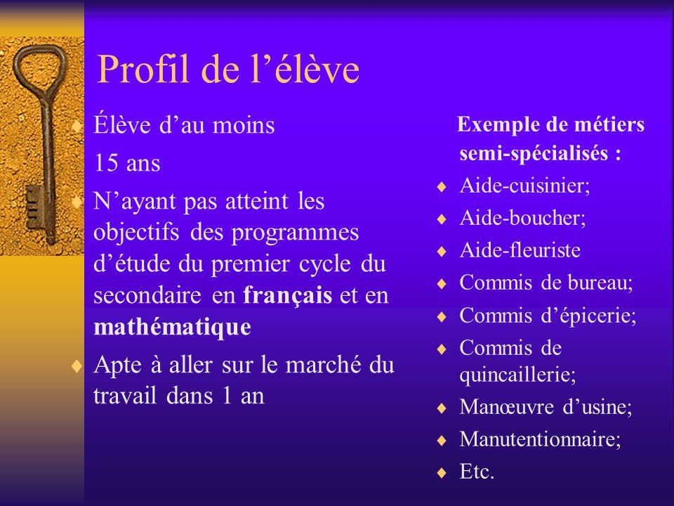 Profil de lélève Élève dau moins 15 ans Nayant pas atteint les objectifs des programmes détude du premier cycle du secondaire en français et en mathém