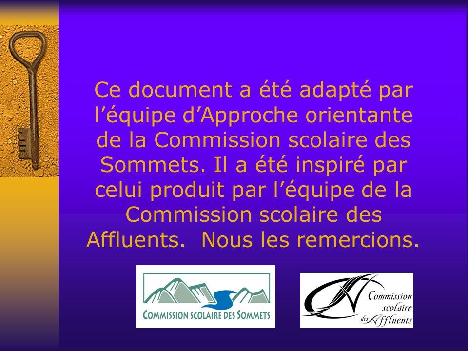 Ce document a été adapté par léquipe dApproche orientante de la Commission scolaire des Sommets. Il a été inspiré par celui produit par léquipe de la