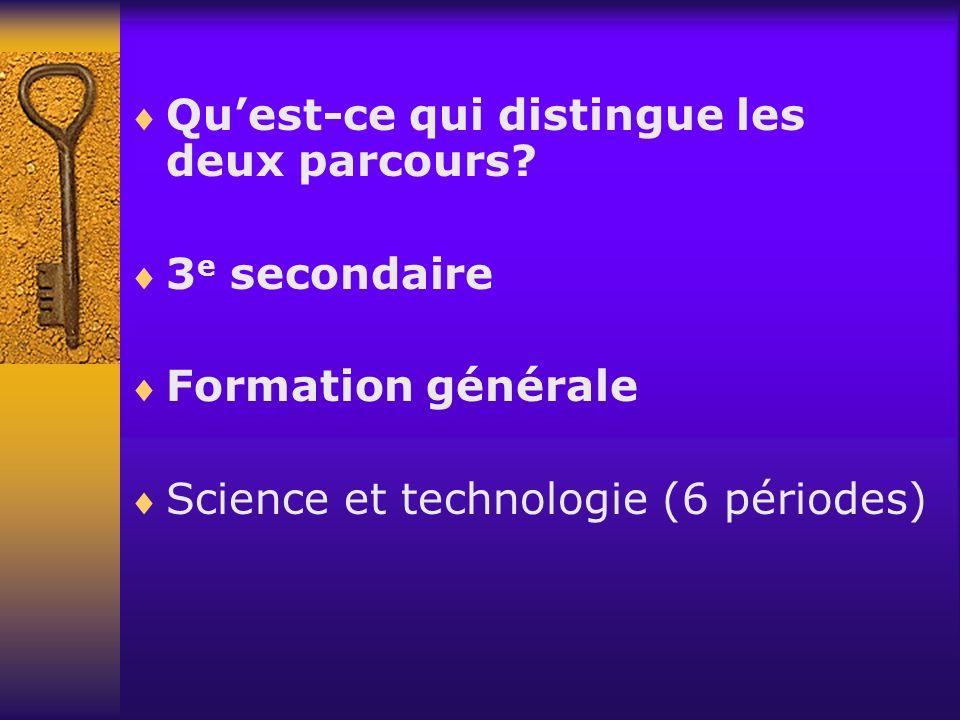 Quest-ce qui distingue les deux parcours? 3 e secondaire Formation générale Science et technologie (6 périodes)