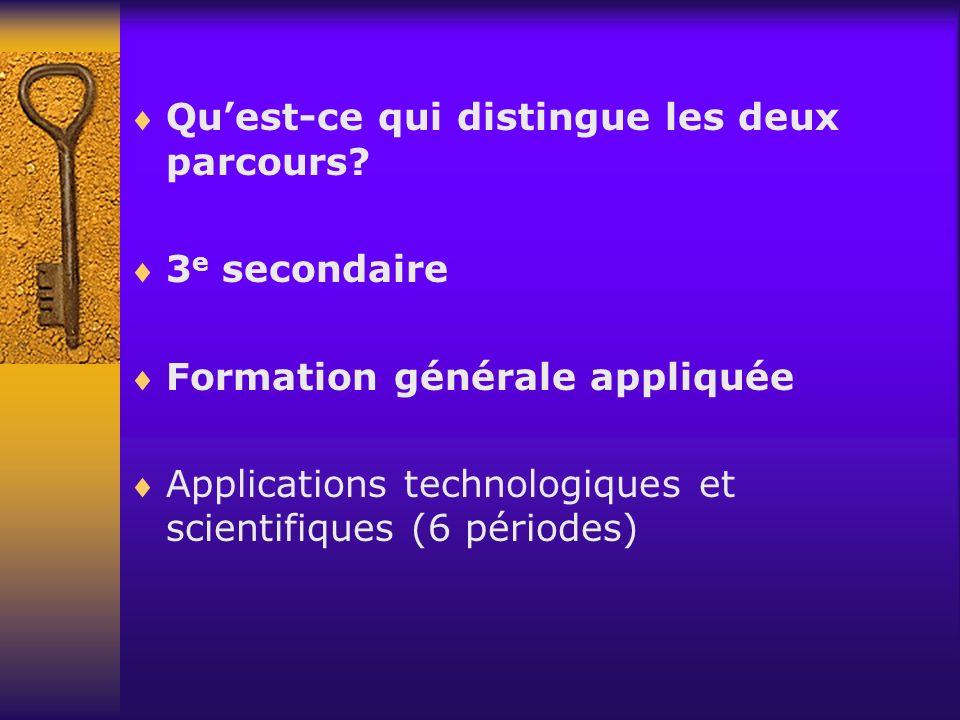 Quest-ce qui distingue les deux parcours? 3 e secondaire Formation générale appliquée Applications technologiques et scientifiques (6 périodes)