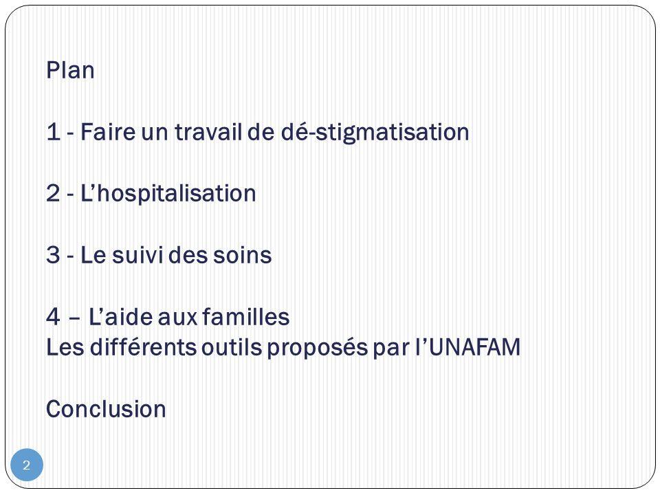 2 Plan 1 - Faire un travail de dé-stigmatisation 2 - Lhospitalisation 3 - Le suivi des soins 4 – Laide aux familles Les différents outils proposés par lUNAFAM Conclusion
