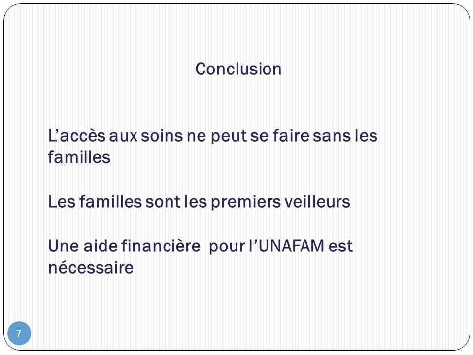 7 Conclusion Laccès aux soins ne peut se faire sans les familles Les familles sont les premiers veilleurs Une aide financière pour lUNAFAM est nécessa