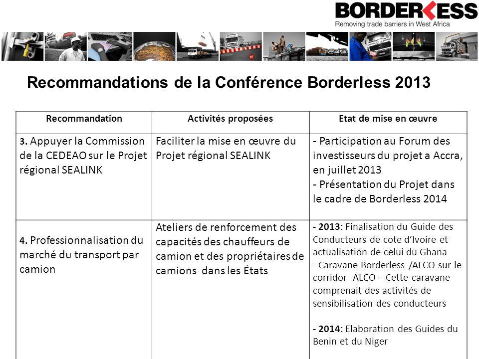 Recommandations de la Conférence Borderless 2013 RecommandationActivités proposéesEtat de mise en œuvre 3.