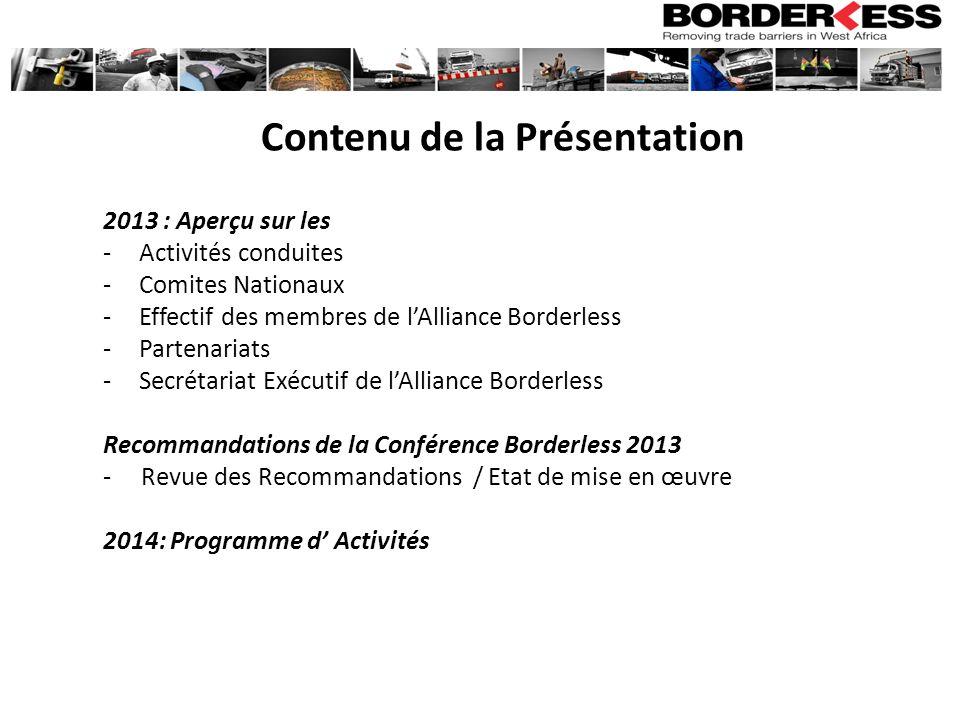 Borderless 2013 Conference Recommendations RecommandationsActivités ProposéesEtat de mise en œuvre 5- Mise en œuvre effective du TRIE Forum dévaluation sur la mise en œuvre du TRIE - Les pays doivent renégocier les accords bilatéraux dans le cadre du TRIE - Révision de la Convention TRIE de la CEDEAO 2014: - Organisation deux ateliers régionaux avec lappui de la Commission de la CEDEAO -Rencontres Côte dIvoire /Mali, Ghana/Burkina/Mali et Burkina/Côte dIvoire 6.