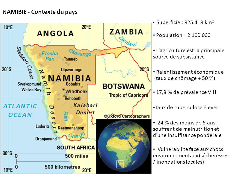 Projet intégré de sécurité alimentaire de la Croix- Rouge namibienne Fait partie du Programme diversifié de soutien pour l agriculture et la subsistance (RRC) – lancé en 2011 Objectif : Production accrue et diversifiée en utilisant correctement les terres et les ressources naturelles dans les régions de Khomas, Caprivi et Ohangwena Coopération avec : le gouvernement, la Croix- Rouge espagnole, la FAO, les communautés et entreprises locales Bénéficiaires : Les ménages appauvris et les PVVS dans les zones d habitation informelles Concentration sur les capacités et opportunités disponibles au niveau local L appropriation par la communauté et les connaissances locales, éléments CLÉS pour la durabilité (bénéficiaires impliqués dans TOUTES les phases du programme)
