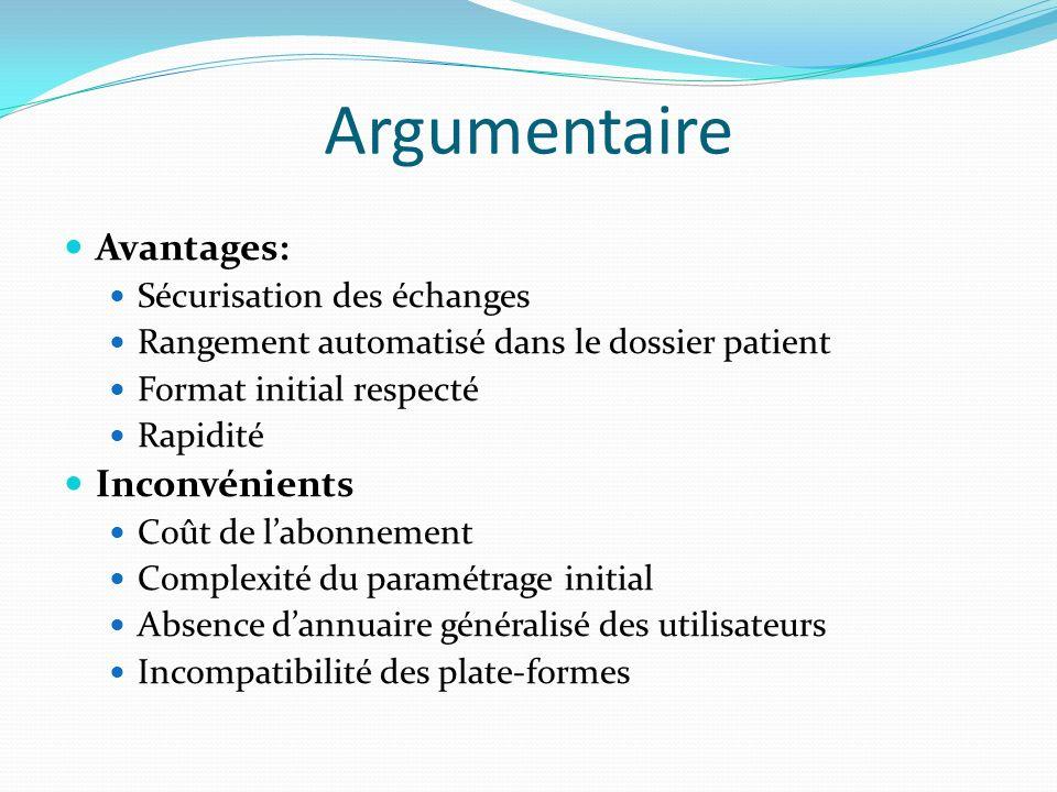 Argumentaire Avantages: Sécurisation des échanges Rangement automatisé dans le dossier patient Format initial respecté Rapidité Inconvénients Coût de