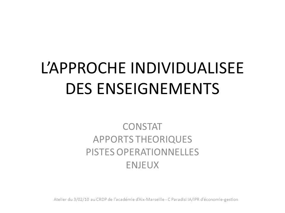 Atelier du 3/02/10 au CRDP de lacadémie dAix-Marseille - C Paradisi IA/IPR déconomie-gestion Constat Lhétérogénéité croissante des élèves : -Accès dun plus grand nombre -Comportements nouveaux -Rapports nouveaux -Fonctionnement différent suivant les activités