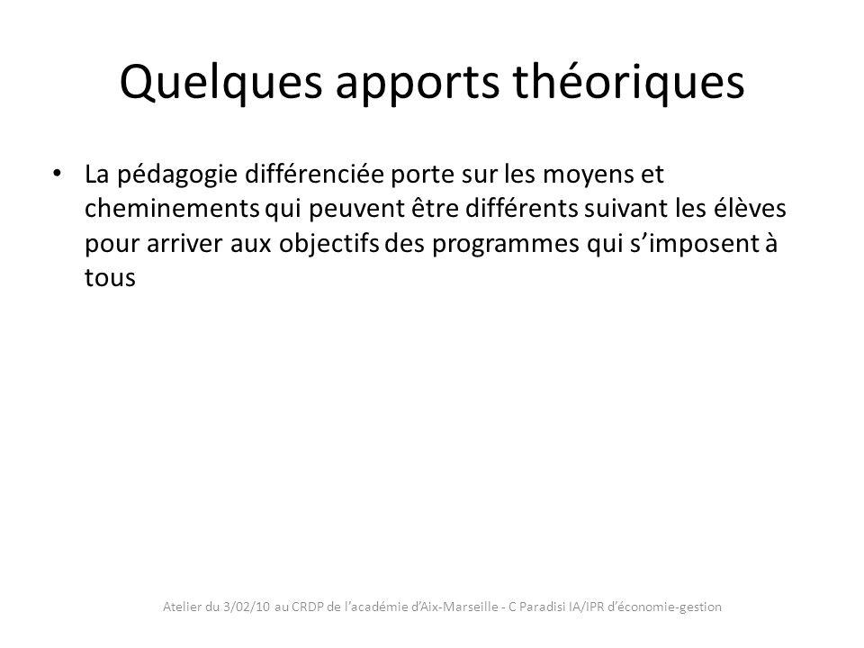 Atelier du 3/02/10 au CRDP de lacadémie dAix-Marseille - C Paradisi IA/IPR déconomie-gestion Enjeux Favoriser les apprentissages Accompagner tous les élèves Assurer la réussite de tous les élèves