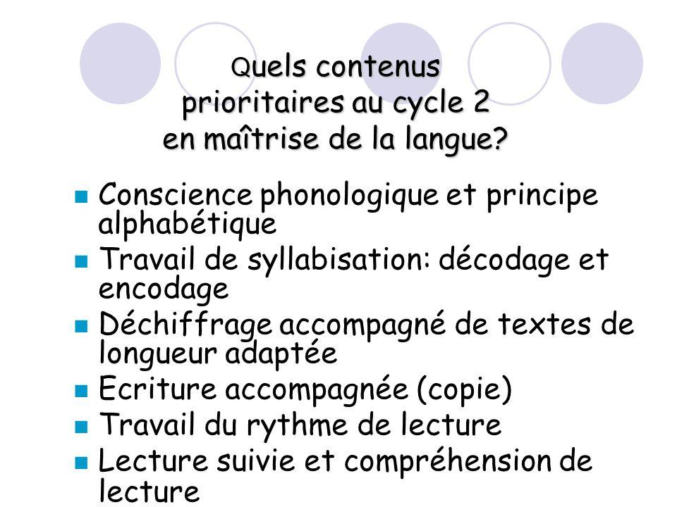 Q uels contenus prioritaires au cycle 2 en maîtrise de la langue? Conscience phonologique et principe alphabétique Travail de syllabisation: décodage